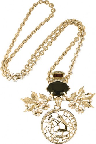 Mawi-Gold-plated-leaf-and-skull-pendant-necklace