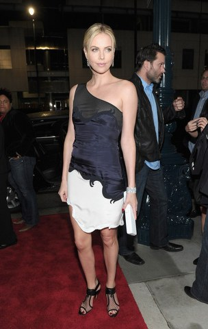 Charlize-Theron-Black-and-White-Mini-Dress