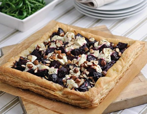 Diana Henry's beetroot, Capricorn goat's cheese and hazelnut tart