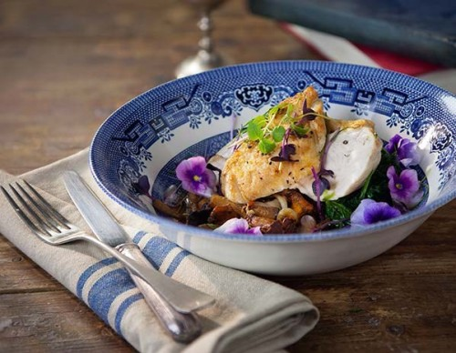 Drake & Morgan's chicken with wild mushrooms, spinach and a tarragon jus