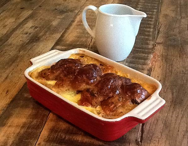 Hot cross bun bread-and-butter pudding