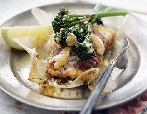 Lesley Waters' tenderstem broccoli and salmon parcels with spicy Moroccan butter sauce