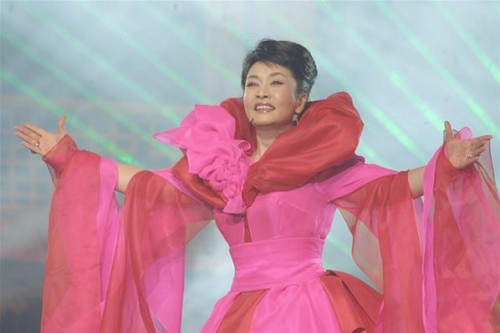 Peng Liyuan performs during a concert in Beijing.
