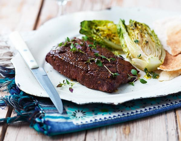 Steaks with grilled little gem