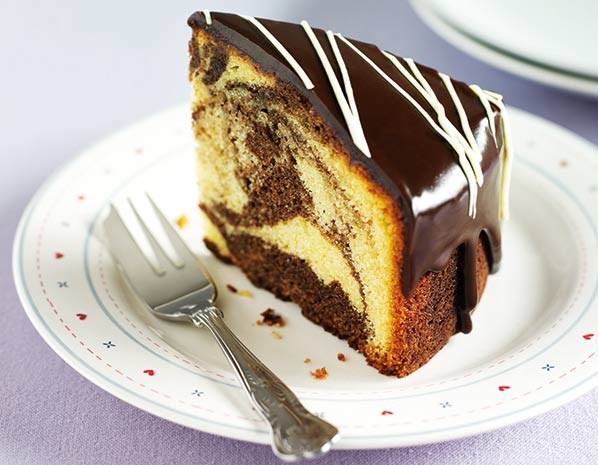 Triple chocolate marble cake