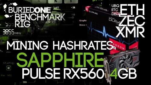 Sapphire PULSE RX560 4GB Crypto Mining Benchmarks: ETH/ZEC/XMR